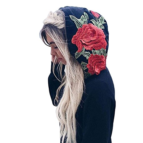Cystyle Damen Stickereien Langarm Hoodies Kapuzenpullover Sweatshirt Oberteil Pullover (EU L=ASIA XL) (Hoodie Bling Sweatshirt)