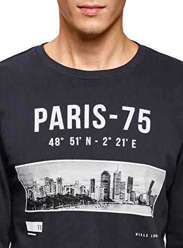 oodji Ultra Herren Sweatshirt mit Urban-Druck Blau (7910P)