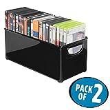 mDesign 2er-Set DVD-Aufbewahrungsbox – praktisches Aufbewahrungssystem mit Griff für DVDs, CDs und Videospiele z. B. PS4 – mittelgroße Aufbewahrungsbox Kunststoff – schwarz