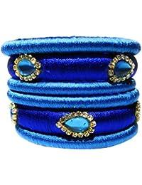 Kiranya Creations Blue Plastic & Silk Thread Bangle Set For Women - Set Of 6 (Size: 2.4, KRC_10)