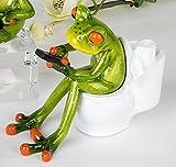Frosch Deko Figur auf Toilette - witzige Dekoration für´s Büro oder Bad 13 cm