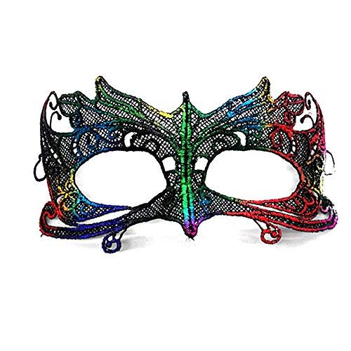 Vikenner Halloween Venezianische Faschingsmasken Frauen Spitze Maske mit Federn für Masquerade Ball Tanzabend Karneval Party Multicolor-Papagei