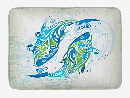 CHKWYN Zodiac Pisces Bath Mat, Abstract Bicolor Fish with Swirls and Dots Constellation Astrology, Plush Bathroom Decor Mat with Non Slip Backing, 23.6 W X 15.7 W Inches, Blue Green Navy Blue