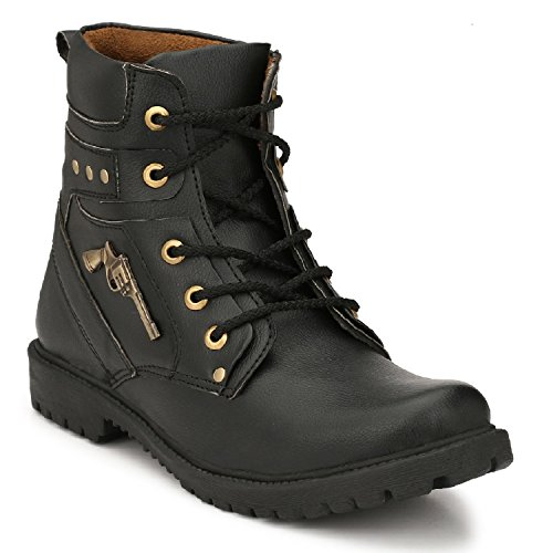 Oladin Mens Premium Synthetic Leather High Ankle Boots BLACK/BROWN(NHT-30001)