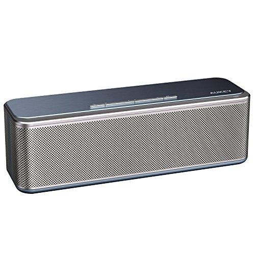 AUKEY Metall Bluetooth Lautsprecher CSR 4.0 mit DSP Chip, 16W Dual-Treiber und Duale Bass-Radiatoren verstärkter Bass, 4000mAh-Akku, Wireless Speaker für Echo Dot, iPhone, iPad, Samsung, Android usw