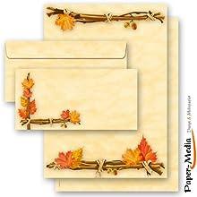 20 Pièces hERBSTGOLD paper-media set de 10 feuilles de papier à lettre 10 enveloppes format long sans fenêtre assorties
