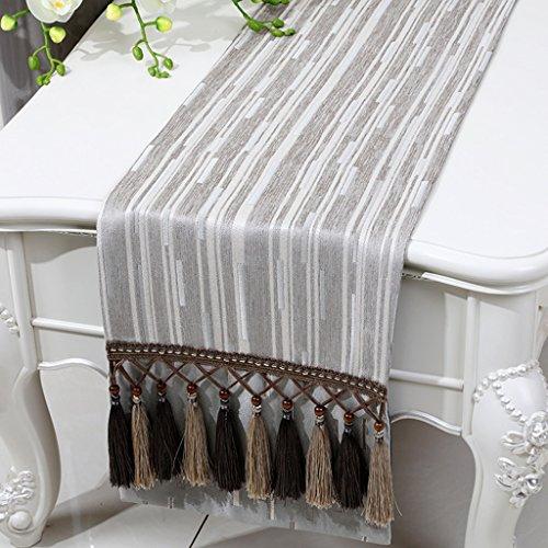 BSNOWF-Chemin de table Table basse de lit de rayure de Chenille Tapis moderne simple de table de style européen classique ( Couleur : Flat angle. , taille : 33*180CM )