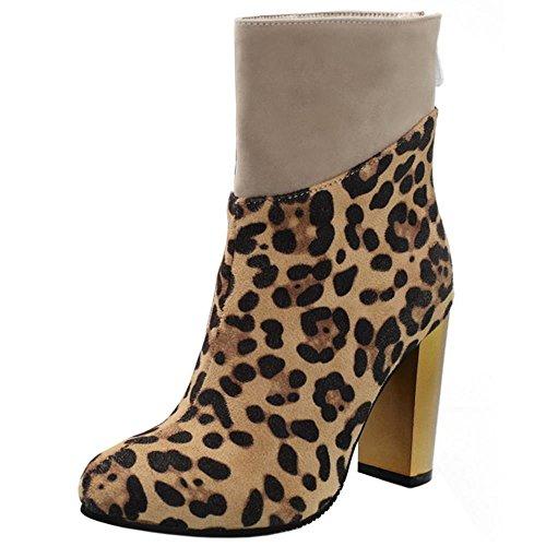 RAZAMAZA Femmes Bottines Bloc Talon Haut Bottes Leopard Fermeture Eclair yellow