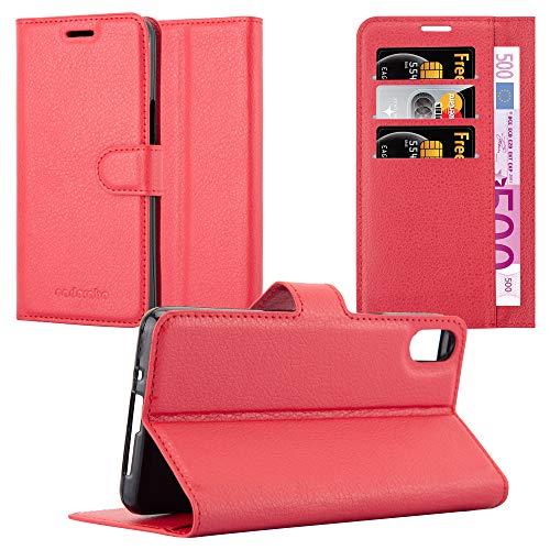 Cadorabo Hülle für BQ Aquaris X5 - Hülle in Karmin ROT - Handyhülle mit Kartenfach und Standfunktion - Case Cover Schutzhülle Etui Tasche Book Klapp Style