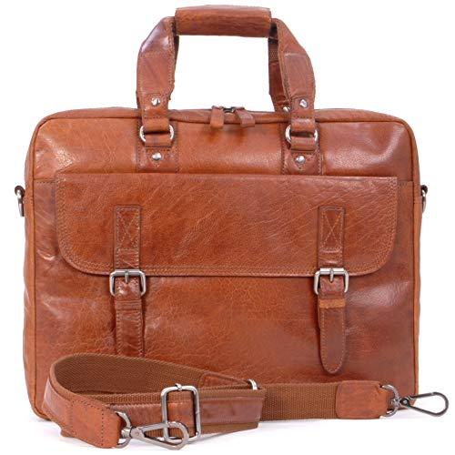 ASHWOOD - Vintage Leder - Schultasche/Organizer/Arbeitstasche/Aktentasche für Laptop/Tablet/iPad - Handtasche mit Schultergurt -F83 - Honig/Hellbraun -