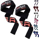 EMRAH - Cinghie per sollevamento pesi, polsiere per rafforzare allenamento fitness cinghie, Black / Red