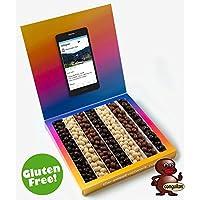 Caja tipo Instagram 23x23cm con mensaje personalizado, su interior contiene 540g de Conguitos