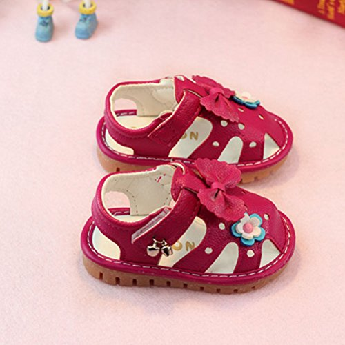 Zhhlaixing Toddler Sandals Soft-Soled Bow tie Shoes Rose Red