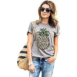 Haomei Camisetas Anchas Mujer Blusas Blusa Camisas para Damas Camisa Manga Corta Camiseta Señora Camisetas de Verano Remeras de Mujer Tops Cuello Redondo Piña Personalizada Gris S