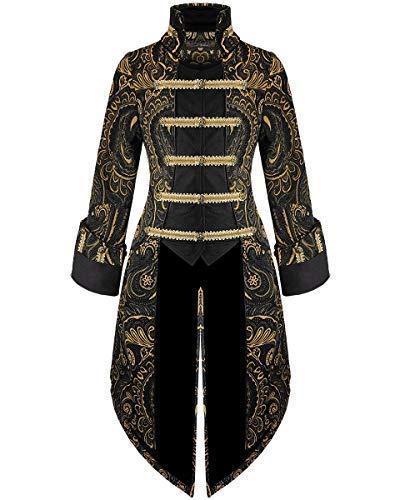 Devil Fashion Mujer FRAC Chaqueta Negro Oro Gótico Steampunk Aristócrata - Negro y Dorado, XS - UK Womens Size 6