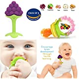 Wish key Kid's Silicone Baby Food BPA Free Nibbler with Rattle and Fruit and Vegetable Teether for 6-12 Months (Multicolour, nibbler_C1teether)-Set Of 2