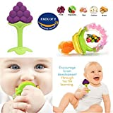 #7: Wishkey Baby Food Nibbler or Feeder with Rattle and Fruit Teether For Kids Set Of 2|Fruit and Vegetable Food Nibbler BPA Free For 6 to 12 Months|Silicone Fruit Teether For 0-2 years Babies|Teething Toys for Baby Teeth Growth