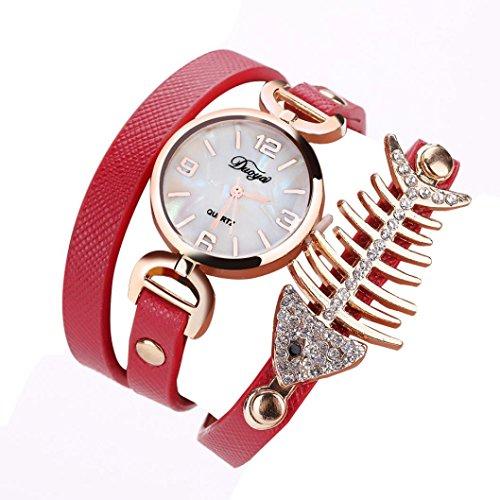1 PC Damen Fisch Spezial Knochen Wicklung Analog Quartz Bewegung Armbanduhr Armband von CICIYONER (Rot)