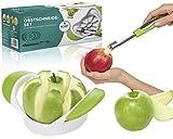 Apfelschneider aus rostfreiem Edelstahl mit Entkerner von KHP Professional, Obstschneider, Apfelausstecher, Birnenschneider, Aptelteiler, Birnenteiler, Apfelentkerner, Äpfel und Birnen entkernen oder schneiden