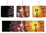 Jahrmarkt mit Feuerwerk inkl. Lampenfassung E27, Lampe mit Motivdruck, tolle Deckenlampe, Hängelampe, Pendelleuchte - Durchmesser 30cm - Dekoration mit Licht ideal für Wohnzimmer, Kinderzimmer, Schlafzimmer