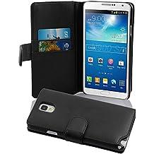 Cadorabo - Funda Samsung Galaxy NOTE 3 (N9005) Book Style de Cuero Sintético Liso en Diseño Libro - Etui Case Cover Carcasa Caja Protección con Tarjetero en NEGRO-DE-CAVIAR