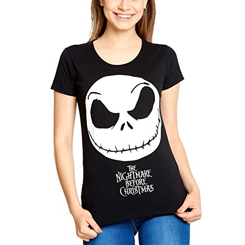 Nightmare before Christmas Damen T-Shirt Jack Skull Smile Baumwolle Schwarz - (Nightmare Before Christmas Outfit)
