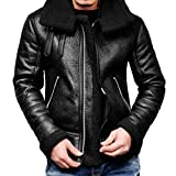 Luckycat Herren Herbst Winter Highneck Warme Pelz Liner Revers Leder Reißverschluss Outwear Top Coat Mode 2018