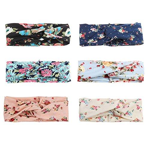 COUXILY 6 Stück Damen Elastische Blume Gedruckt Stirnbänder Marineblau Knoten Haarband Knotted Band für Yoga Sport (A-T01)