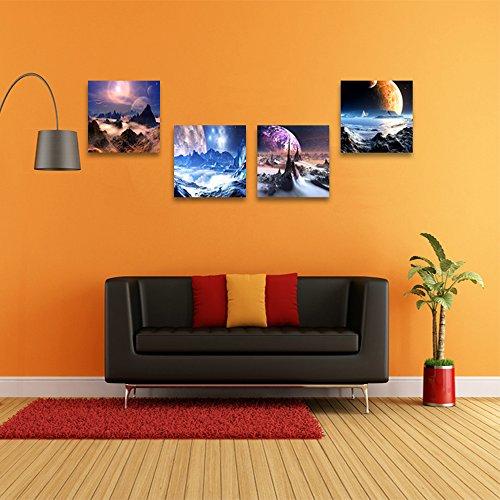 Crmoart - outer space planet modern giclee stampe su tela illustrazioni animate immagini dell'universo a dipinti fotografici su tela wall art for living room bedroom decorazioni per la casa decorazione murale 4 pezzi / set