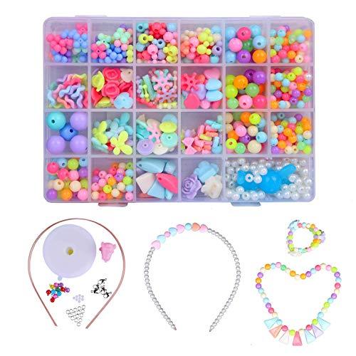 Cuentas Abalorios,DIY Beads 24 Clases Perlas el Plastico en Caja de PVC como Regalo para Niños Niñas Pulsera DIY Maciendo Kit 700 Piezas