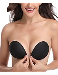 ca6ebd3269ea5 WingsLove Women Silicone Adhesive Stick On Push Up Gel Strapless Backless  Invisible Reusable Bra Cleavage Natural Effect Front Closure Size…