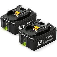 NeBatte 2x BL1850B 18V 5.0 Ah batería de repuesto de litio 2 paquetes compatible Makita BL1860B, BL1860, BL1850B, BL1850, BL1840B, BL1840, BL1830B, BL1830, BL1820, BL1815, BL1825, BL1835, BL1845,194205-3,194309-1,194204- 5,196399-0,196673-6, LXT-400 con indicador