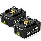 NeBatte 2x BL1850B 18V 5,0 Ah Lithium Packs de batterie remplacement pour Makita BL1860B, BL1860, BL1850B, BL1850B, BL1840B, BL1840, BL1830B, BL1830, BL1820, BL1815, BL1825, BL1835, BL1845,194205-3,194309-1,194204- 5,196399-0,196673-6, LXT-400 avec indicateur