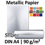 Metallic Papier DIN A4 | Silber Metallic | 25 Stück | glänzendes Bastelpapier mit 90 g/m² | Rückseite Weiß | Ideal für Einladungen, Hochzeiten, Bastelarbeiten oder besondere Briefe