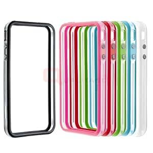 Bumper für iPhone 4 / iPhone 4S Trans. weiss / blau / grün / rot / pink / schwarz 6ér Set 1A Passform Original Verpackt + Gratis Stylus Stift und Schutzfolie für Vorder- und Rückseite