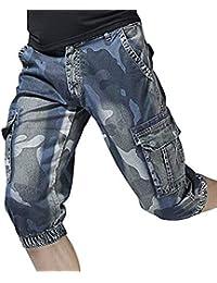 4032d8ec14099 Shorts en Jean Skinny pour Été Camouflage Hommes Slim Fit Vintage Pantalon  Court Pantalon Décontracté Shorts
