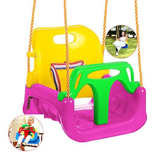 Bunao Babyschaukel 3 in 1 Babysitz verstellbar und mitwachsend Schaukelsitz Gartenschaukel für Baby und Kinder mit Rückenlehne und Anschnallgurt belastbar bis 200kg Blau (Pink)