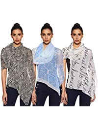 Krave Women's Synthetic Scarf (Pack of 3) (AW18KRAVE_3SCF072728_Multicoloured_Fs)