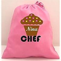 Personalised Cupcake Chef Set di strumenti in borsa di cotone con (Personalizzata Cucchiaio Da Bambino)
