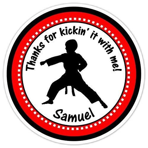 Sandy66Twain Geburtstags-Aufkleber, Karate Geburtstag, Karate Boy Geburtstag Etiketten Party Gastgeschenke Tüten Lables