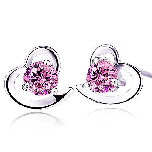 findout Amethyst red pink blue white Crystal Heart Silver bracelet,for women girls.