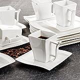 Malacasa, Série Flora, 18pcs Service de Table, Service à Café, Porcelaine 6 Tasses, 6 Soucoupe, 6 Assiette à Dessert Design Moderne pour 6 Personnes