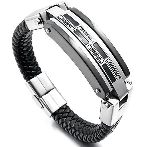 mendino Edelstahl Echtes Leder geflochten Griechisch Manschette Armband Armreif Mauer Muster Silber Schwarz Herren Damen mit Samtbeutel