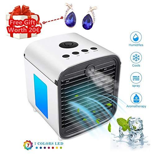 Climatiseur Portable, Mini Climatiseur Mobile, Refroidisseur D'Air Portable - Rafraichisseur D'Air Et Ventilateur, Climatiseur Humidificateur Purificateur 3 En 1, Anti-Fuites (Blanc)