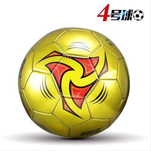 zuq Fußball No. 5 Erwachsene Grund- und Sekundarschule Kinder 54 3 verschleißfeste Echtleder Sense Kindergarten Training Fußball Golden Storm No.4 (Geschenk)