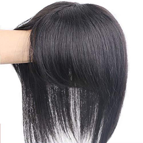 LEBIYOU - Accessorio con fermaglio realizzato con capelli veri, di varie lunghezze, con frangia, per donne con capelli sottili e frangia