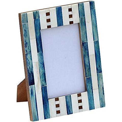 SouvNear marco de fotos de madera en dificultades - 21.3 cm - turquesa - madera - mesa de oficina en casa esenciales sala de estar