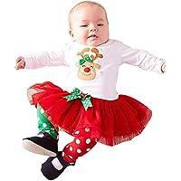 Sallydream Princesa Vestido de Fiesta Niña Conjunto de Trajes de Navidad para niñas y bebés con Ciervos y Lunares para niñas pequeñas