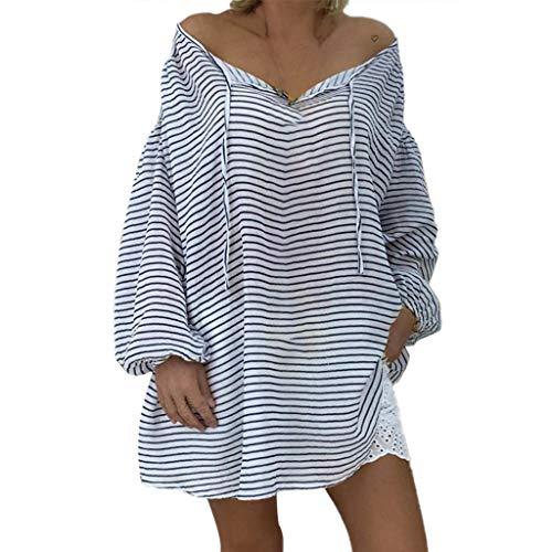 80's Kostüm Tennis - Berimaterry Damen Bluse Lose Große Größen Lang Tunika Tops Casual V-Ausschnitt Bandage Gestreift Langarm T-Shirt Basic Oberteile für Frauen Gr.S-5XL