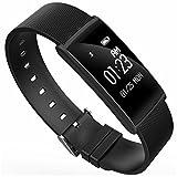 HDWY Smart Armband mit Farbbildschirm Schrittzähler Kalorien Schlaf Monitor Entfernung Sportuhr Walking Lauf App für Frau und Mann (Farbe : Schwarz)